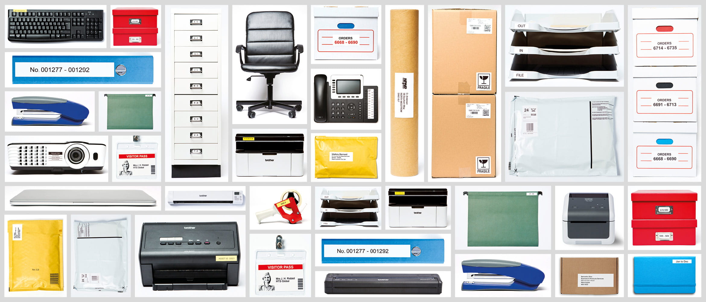 Office items and equipment labelled with a Brother QL label printer