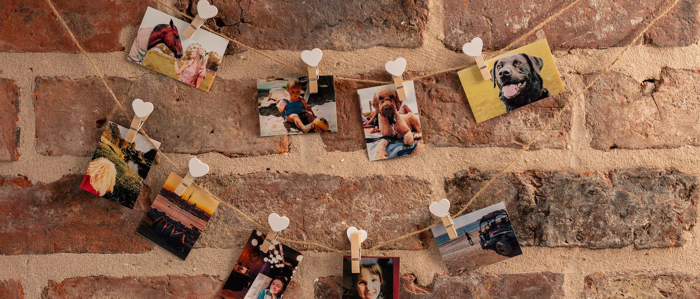 Colour photos hanging on a wall