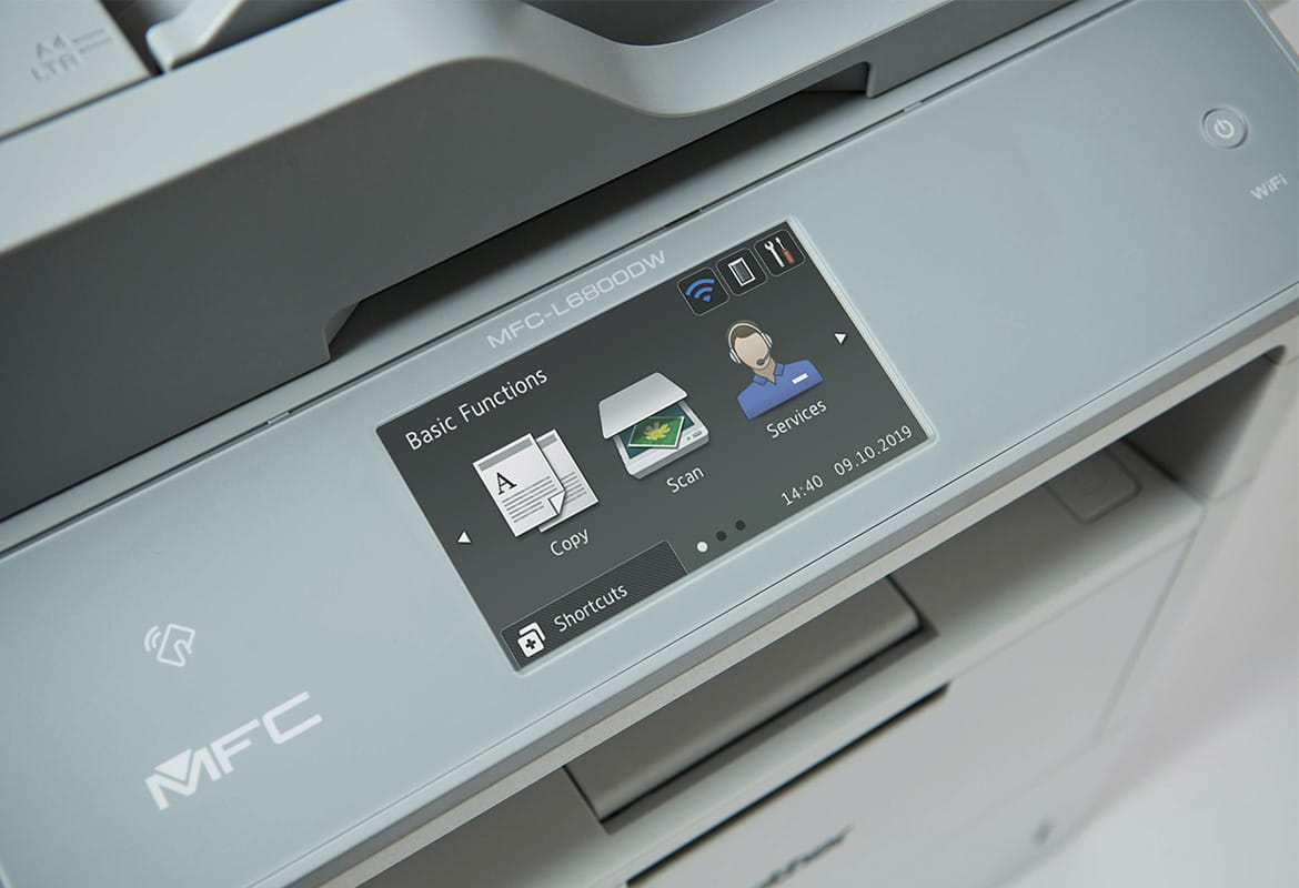 Touchscreen on Brother multifunction printer with three icons