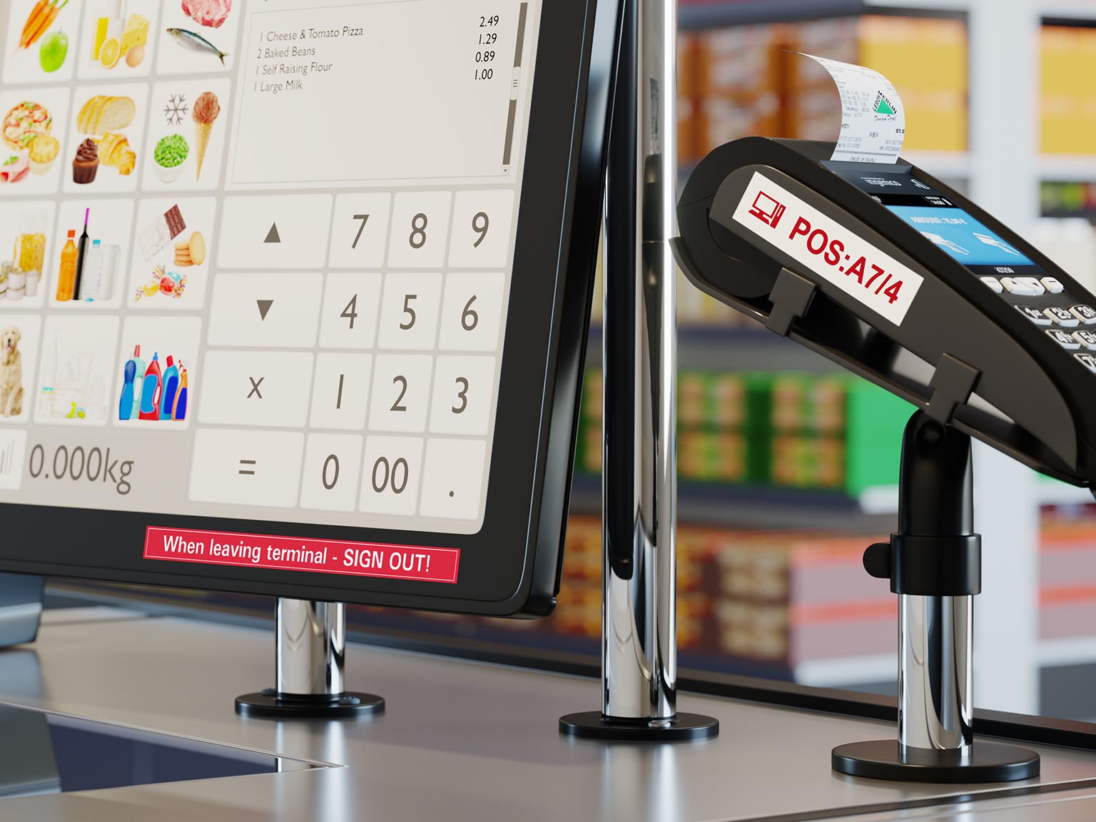 Durable Brother P-touch TZe labels on POS point-of-sale equipment in retail store
