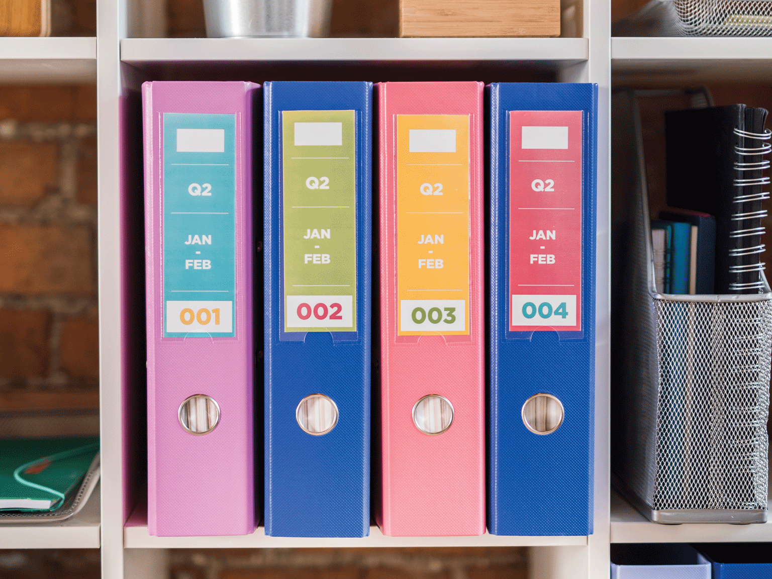 Folders with colourful labels