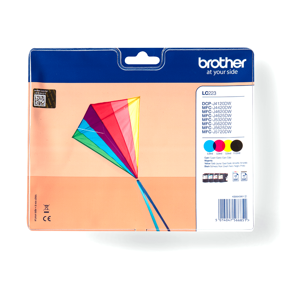 Brother original LC223VALBPDR bläckpatroner multipack
