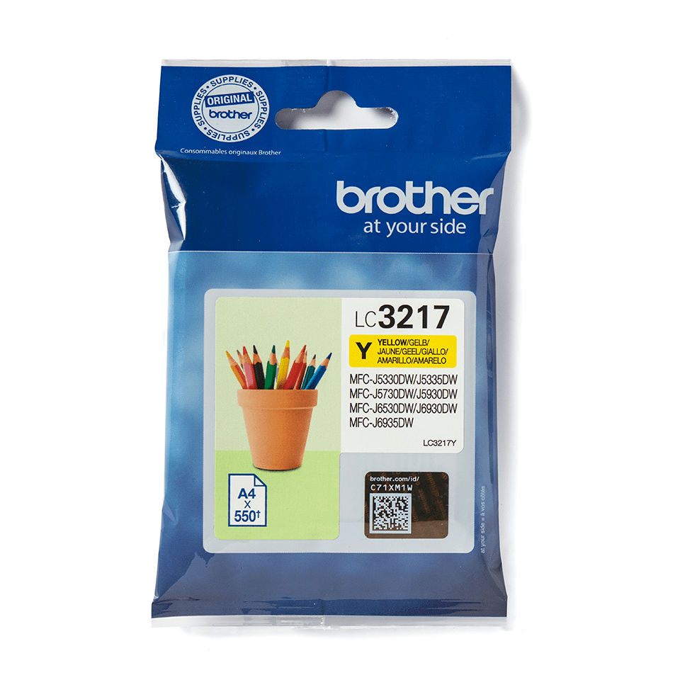 Brother original LC3217Y bläckpatron – Gul