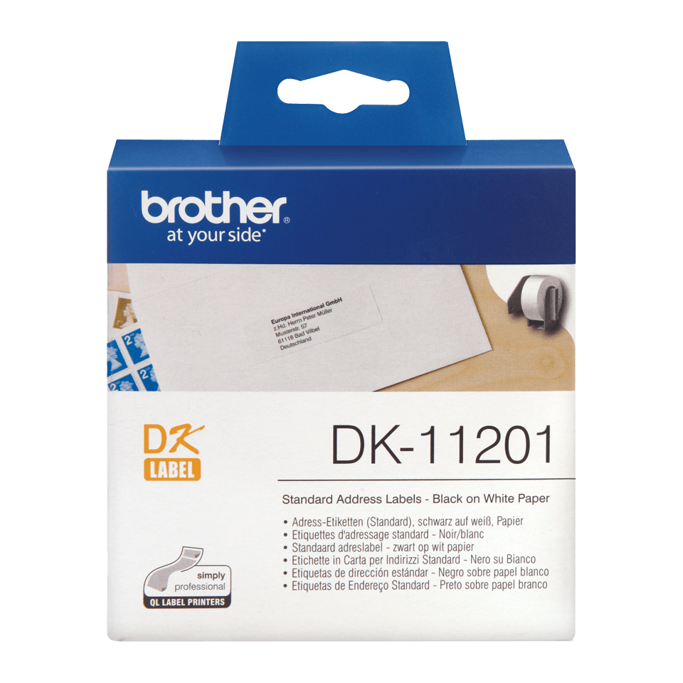 Brother DK-11201 original standard adressetiketter – svart på vit, 29 mm x 90 mm