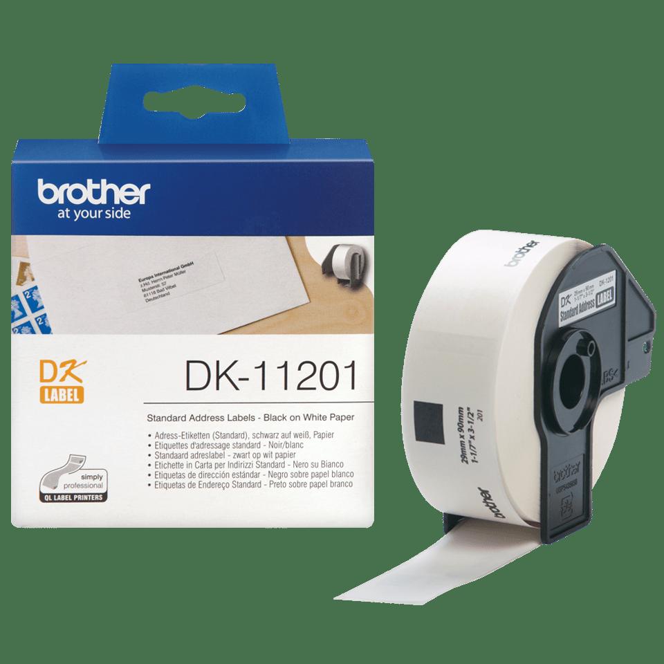Brother DK-11201 original standard adressetiketter – svart på vit, 29 mm x 90 mm  3