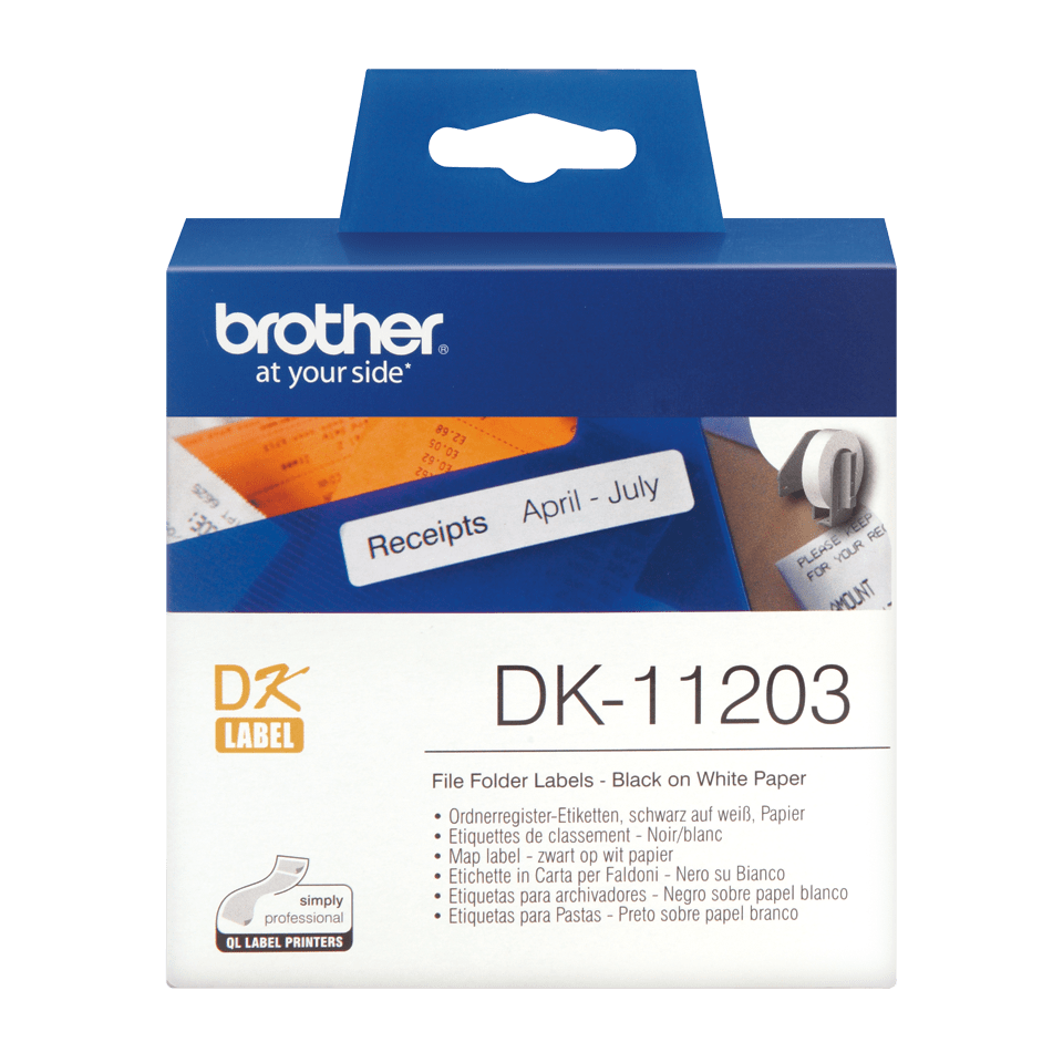 Brother original DK11203, etikettrulle, svart på vit, 17 mm x 87 mm
