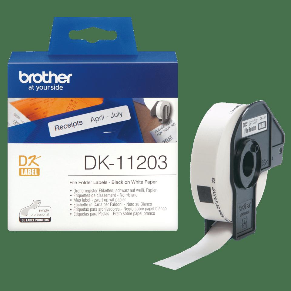 Brother original DK11203, etikettrulle, svart på vit, 17 mm x 87 mm 3