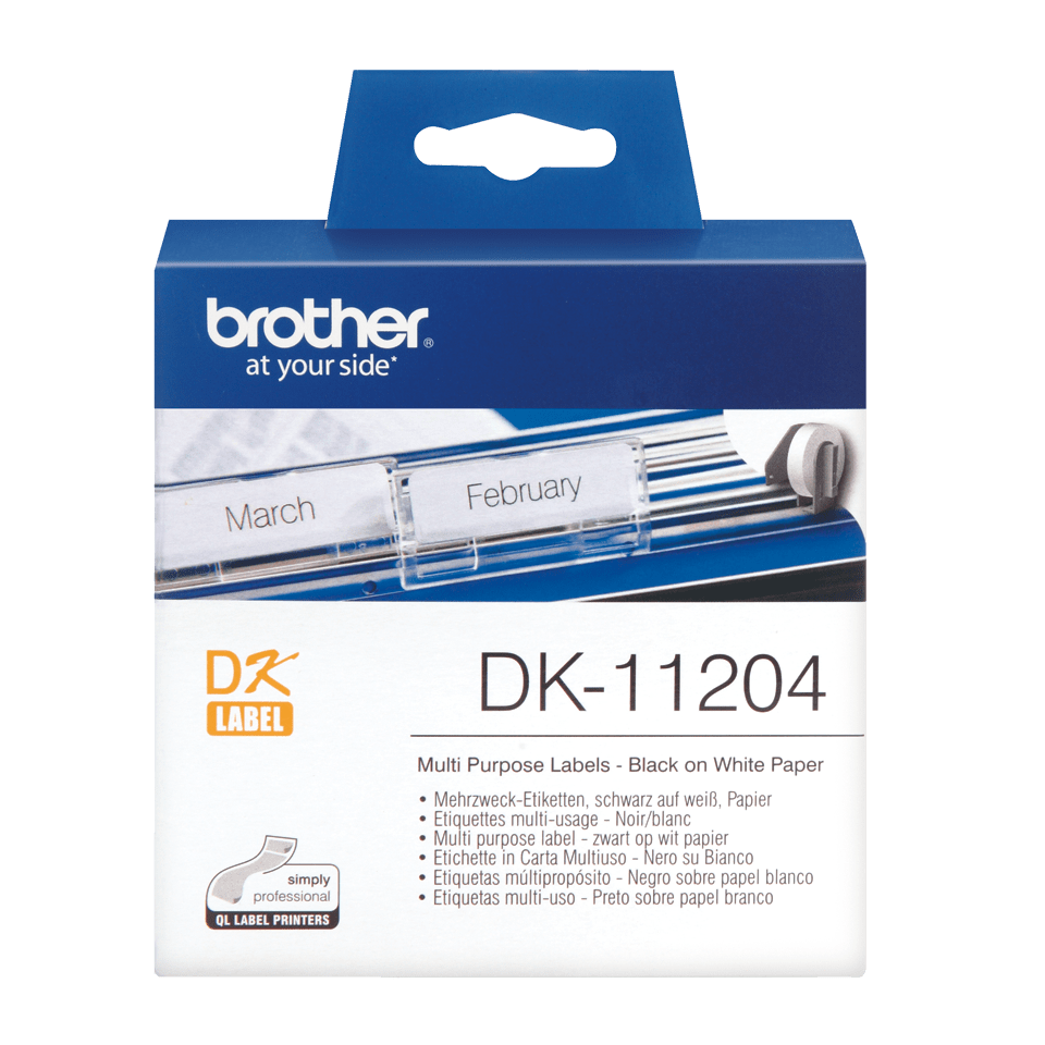 Brother original DK11204 etikettrulle, svart på vit, 17 mm x 54 mm