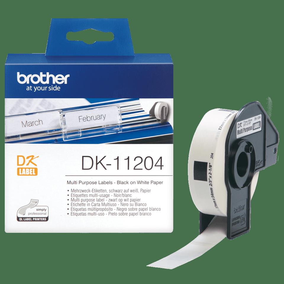 Brother original DK11204 etikettrulle, svart på vit, 17 mm x 54 mm 3
