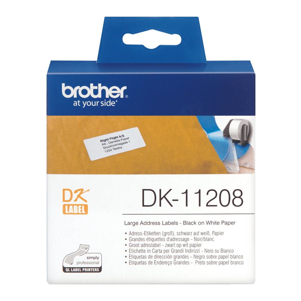 Brother original DK11208 etikettrulle, svart på vit, 38 mm x 90 mm