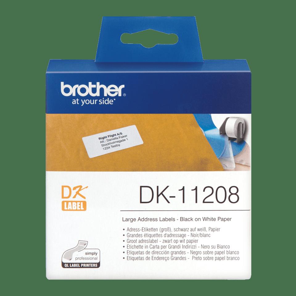 Brother original DK11208 etikettrulle, svart på vit, 38 mm x 90 mm