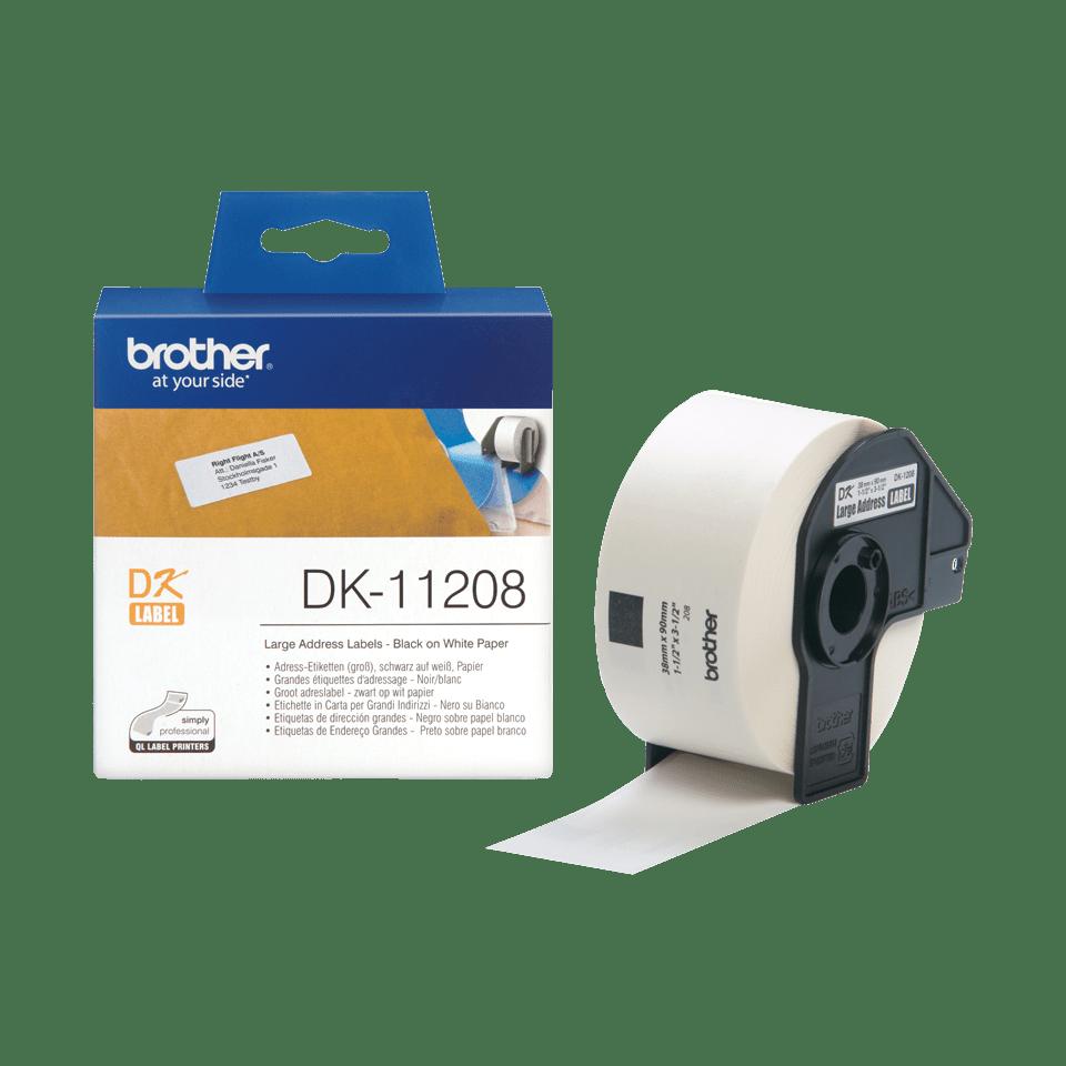 Brother original DK11208 etikettrulle, svart på vit, 38 mm x 90 mm 3