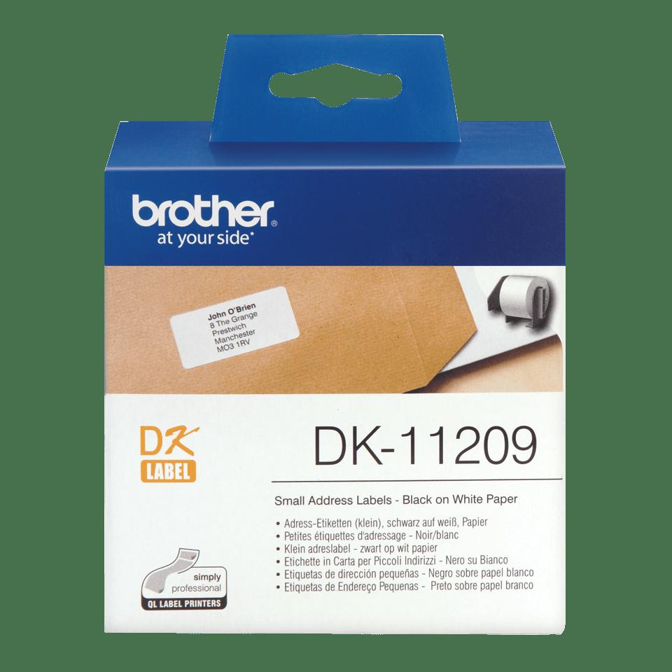 Brother original DK-11209 små adressetiketter - svart på vit 29 mm x 62 mm