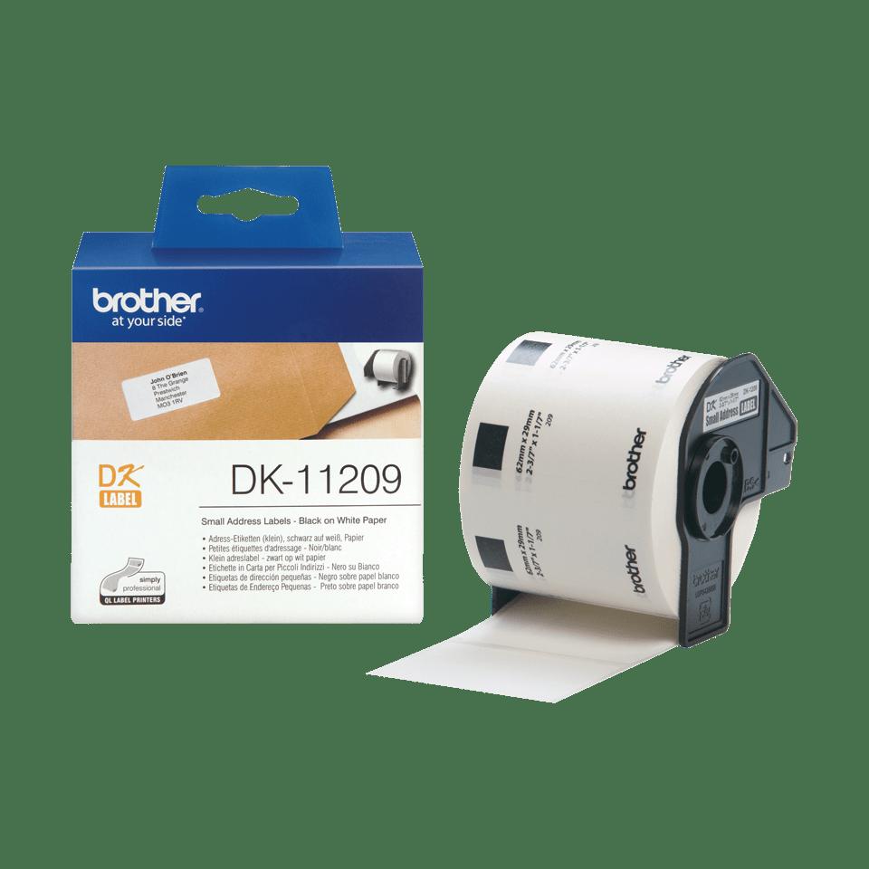 Brother original DK-11209 små adressetiketter - svart på vit 29 mm x 62 mm 3