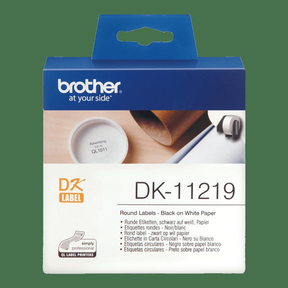 Brother original DK11219, etikettrulle, svart på vit, Ø 12 mm