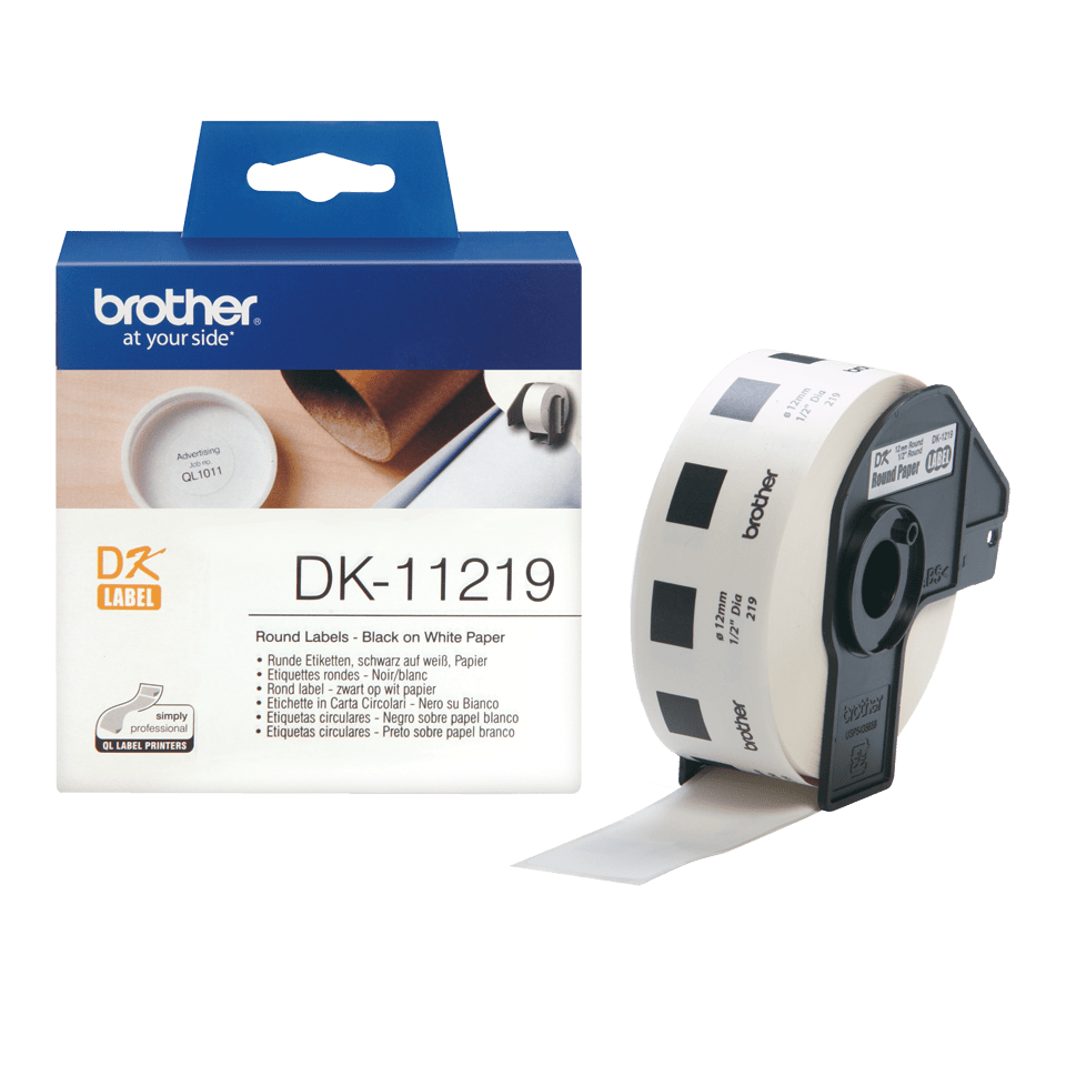 Brother original DK11219, etikettrulle, svart på vit, Ø 12 mm 3