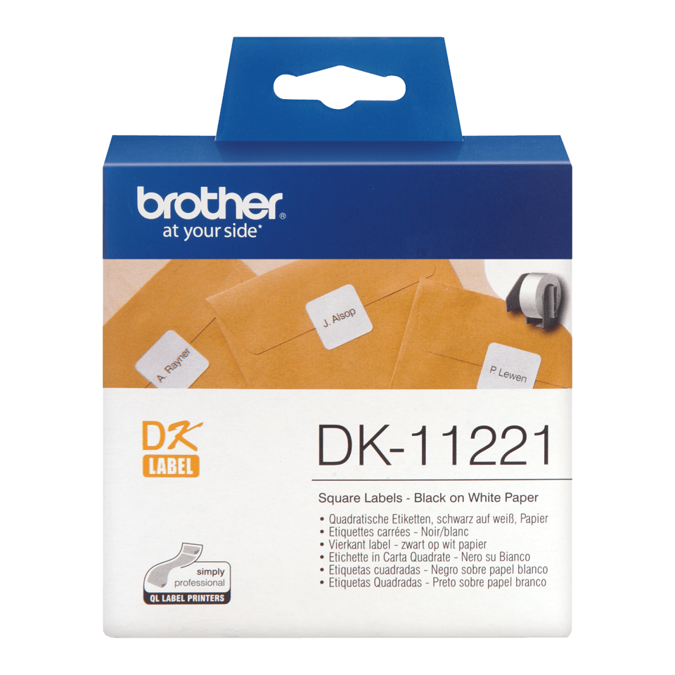 Brother original DK11221, etikettrulle, svart på vit, 23 mm x 23 mm