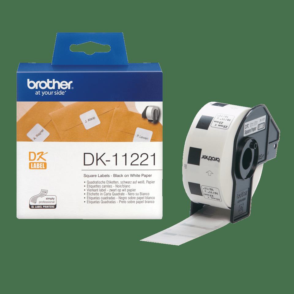 Brother original DK11221, etikettrulle, svart på vit, 23 mm x 23 mm 3