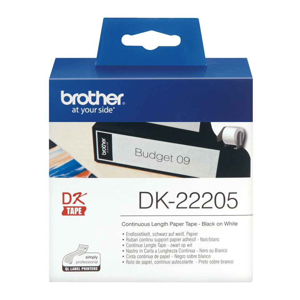 Brother  DK-22205 Fortlöpande papperstape – svart på vit, 62 mm bred