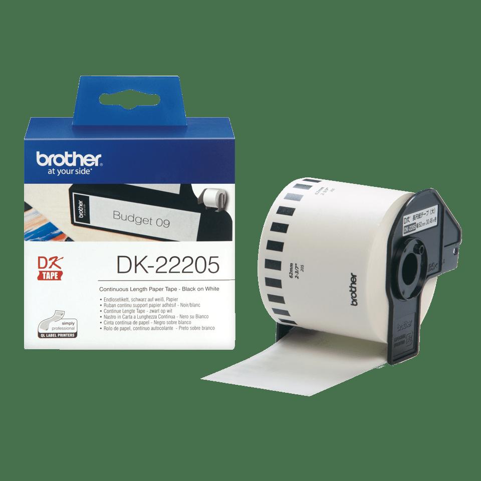 Brother  DK-22205 Fortlöpande papperstape – svart på vit, 62 mm bred 3