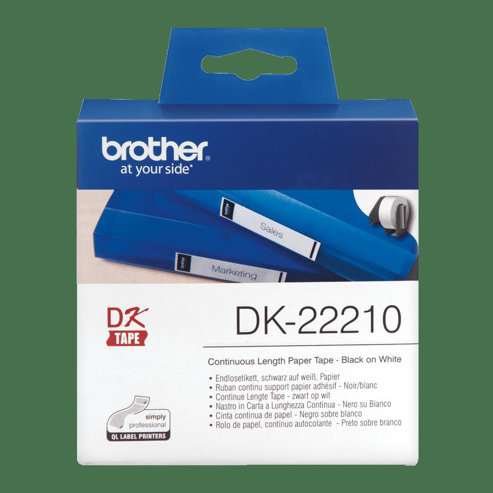 Brother original DK22210, etiketter på fortlöpande rulle, svart på vit, 29 mm