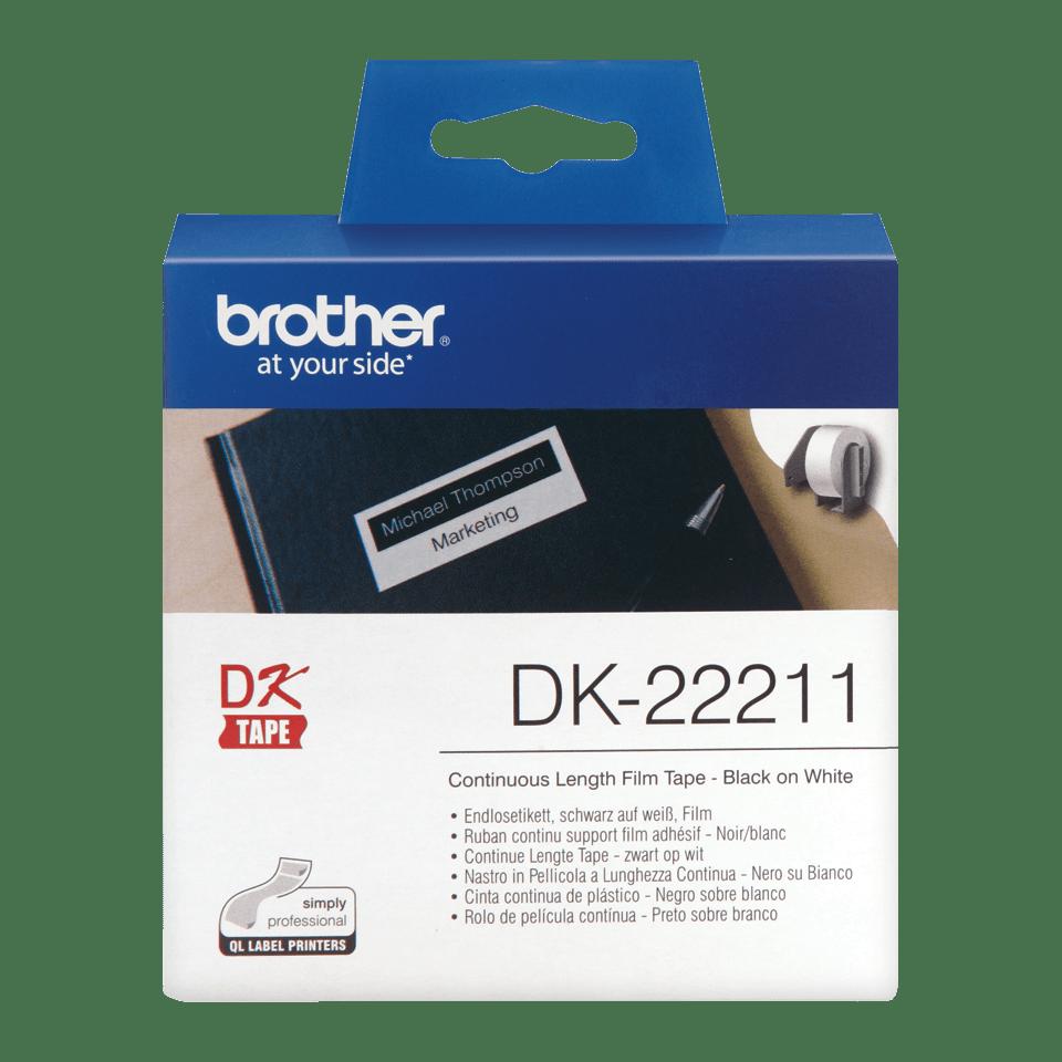 Brother original DK22211 fortlöpande tape med plastfilm - Svart på vit, 29 mm.