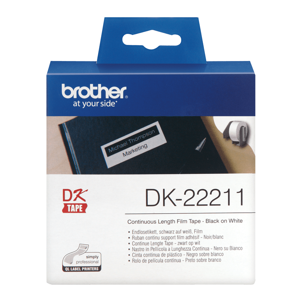 Brother original DK22211 fortlöpande tape med plastfilm - Svart på vit, 29 mm.