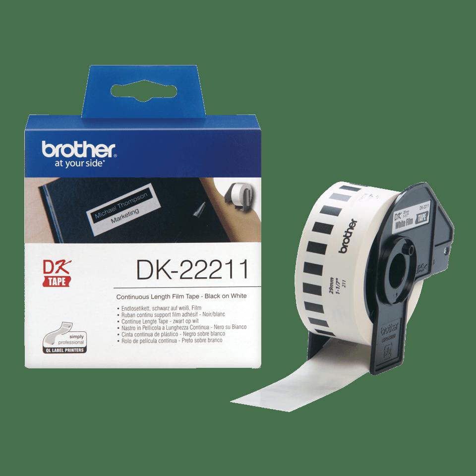 Brother original DK22211 fortlöpande tape med plastfilm - Svart på vit, 29 mm.  3