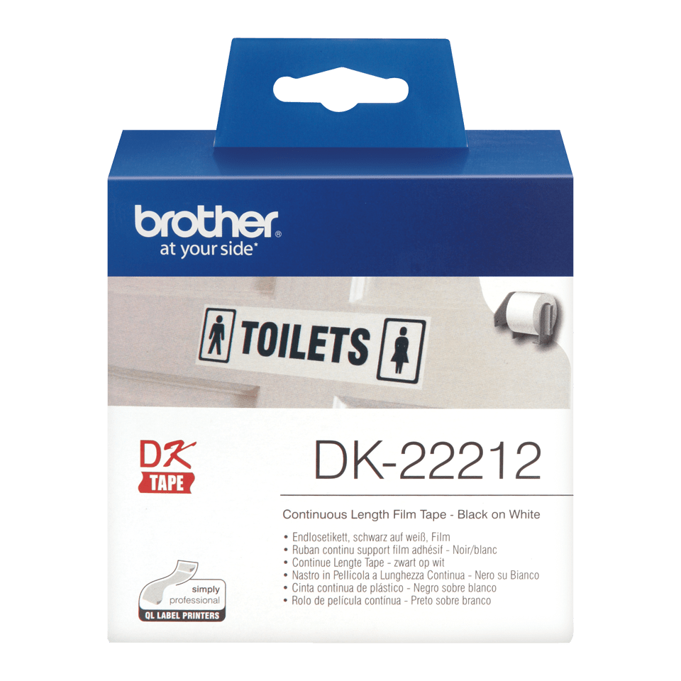 Brother original DK-22212 vit fortlöpande tape med plastfilm - Svart på vit, 62 mm