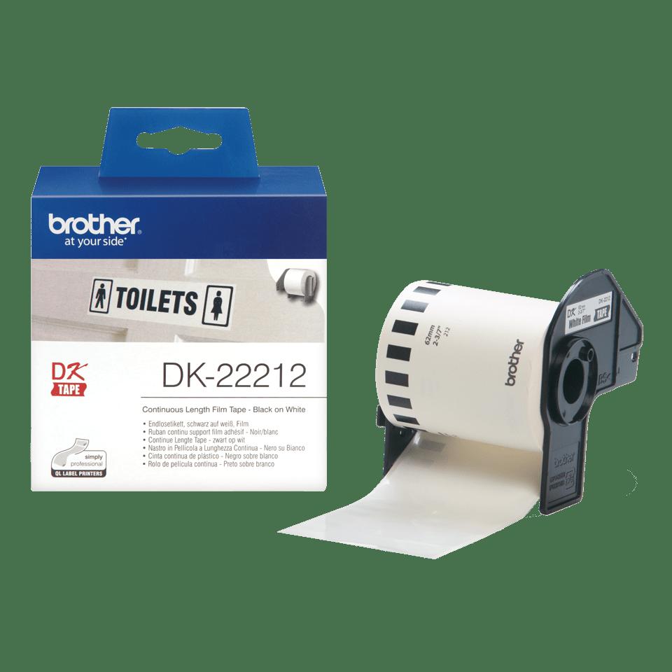 Brother original DK-22212 vit fortlöpande tape med plastfilm - Svart på vit, 62 mm 3