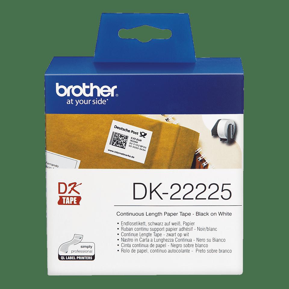 Brother original DK22225, etiketter på fortlöpande rulle, svart på vit, 38 mm  2