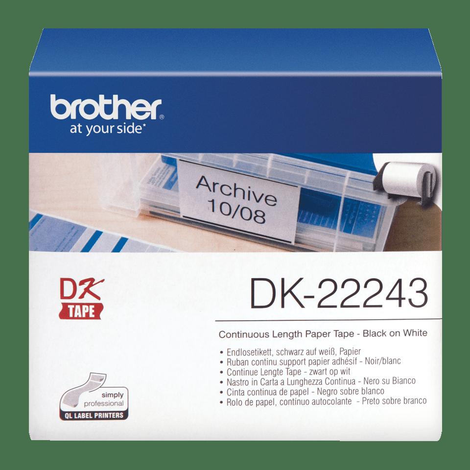 Brother original DK22243, etiketter på fortlöpande rulle, svart på vit, 102 mm