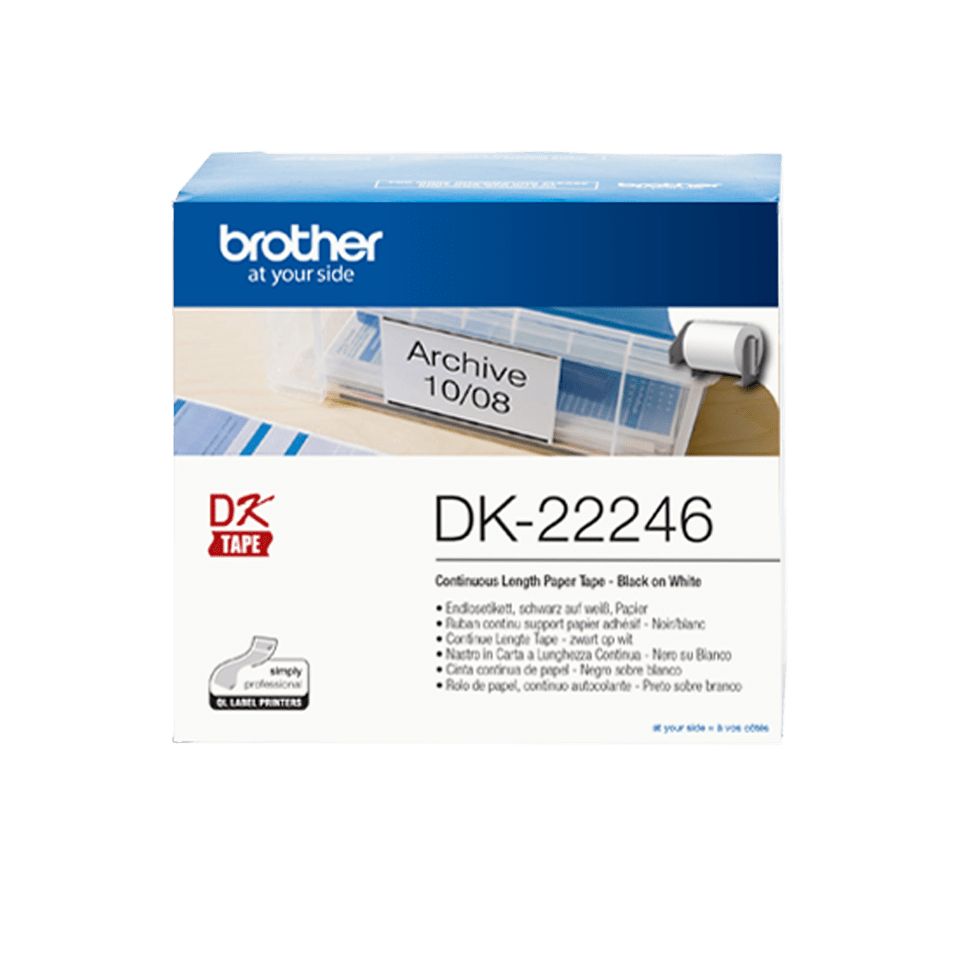Brother DK-22246 fortlöpande rulle med pappersetiketter – Svart på vit, 103 mm bred