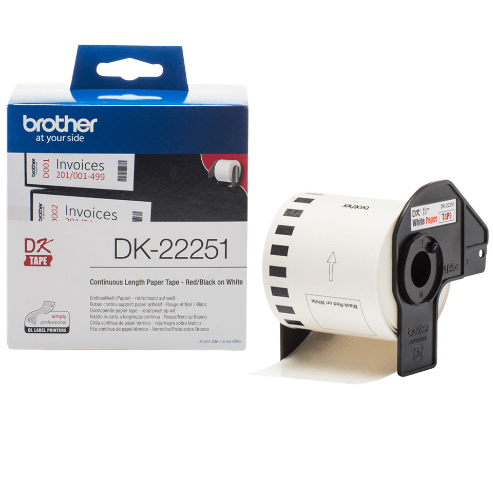 Brother DK-22251 Pappersetikett i fortlöpande längd – svart och röd på vit, 62 mm 3