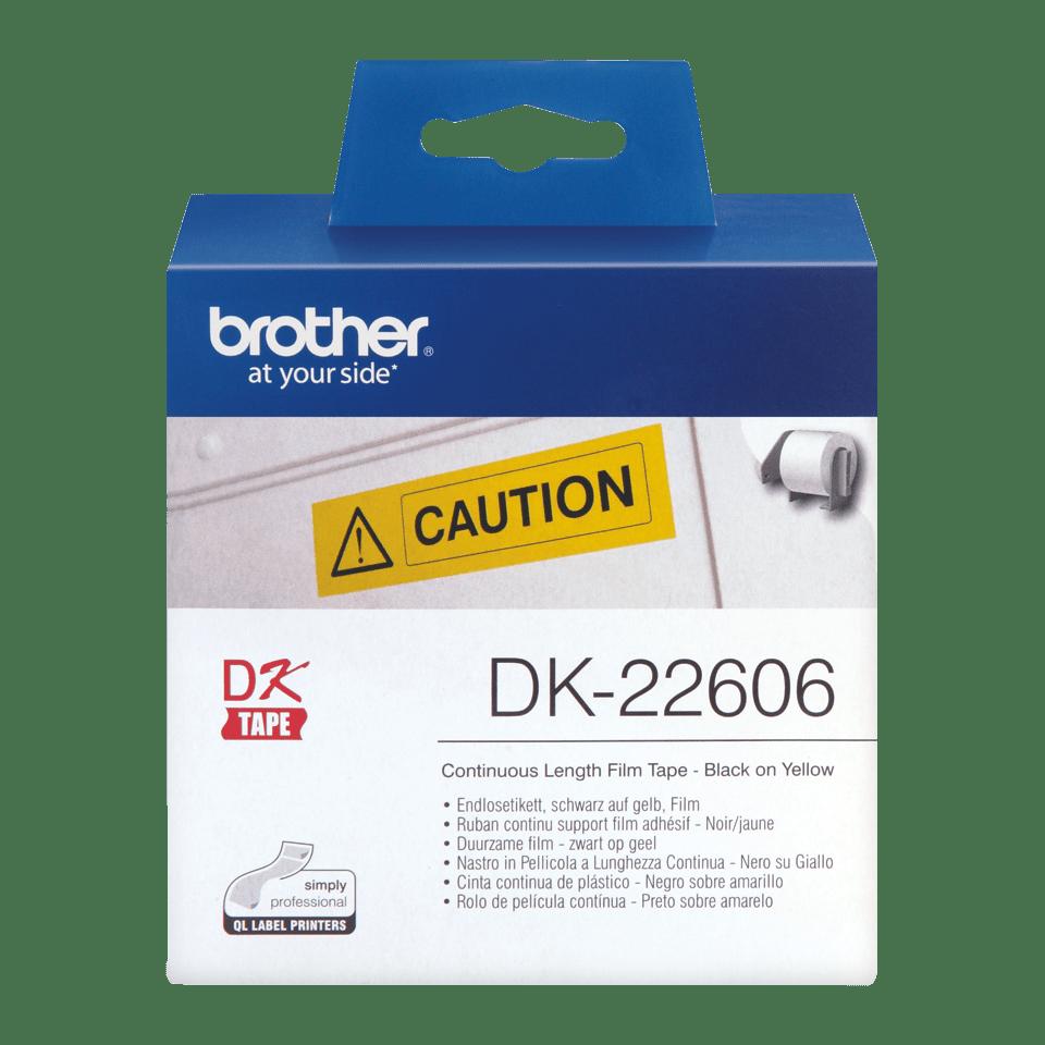 Brother DK22606 original fortlöpande tape med plastfilm - svart på gul, 62 mm bred