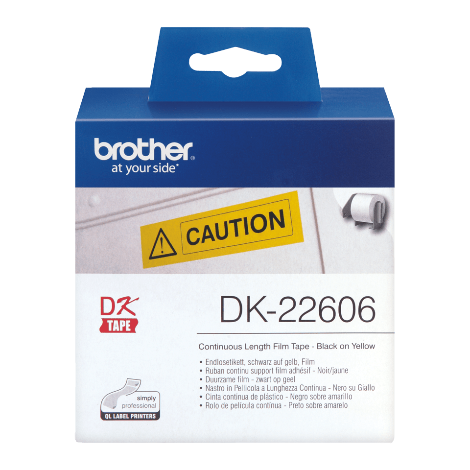 Brother DK22606 original fortlöpande tape med plastfilm - svart på gul, 62 mm bred 2