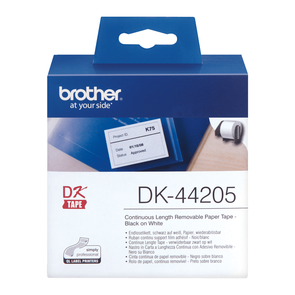 Brother DK-44205 original papperstape, borttagbar – svart på vit, 62 mm