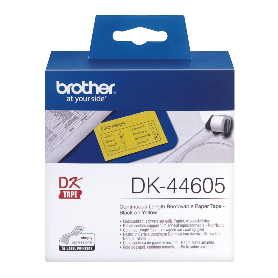 Brother DK-44605 original fortlöpande papperstape, borttagbar - Svart på gul, 62 mm