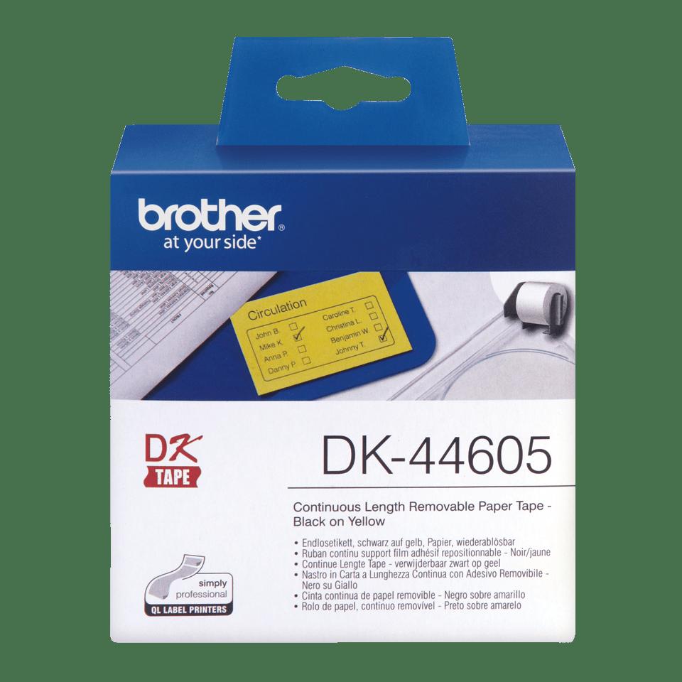 Brother DK-44605 original fortlöpande papperstape, borttagbar - Svart på gul, 62 mm