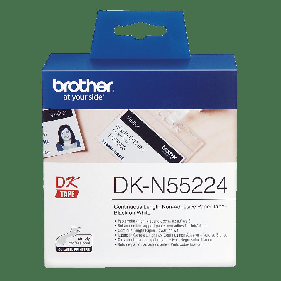 Brother DK-N55224 original papperstape icke vidhäftande – svart på vit, 54 mm