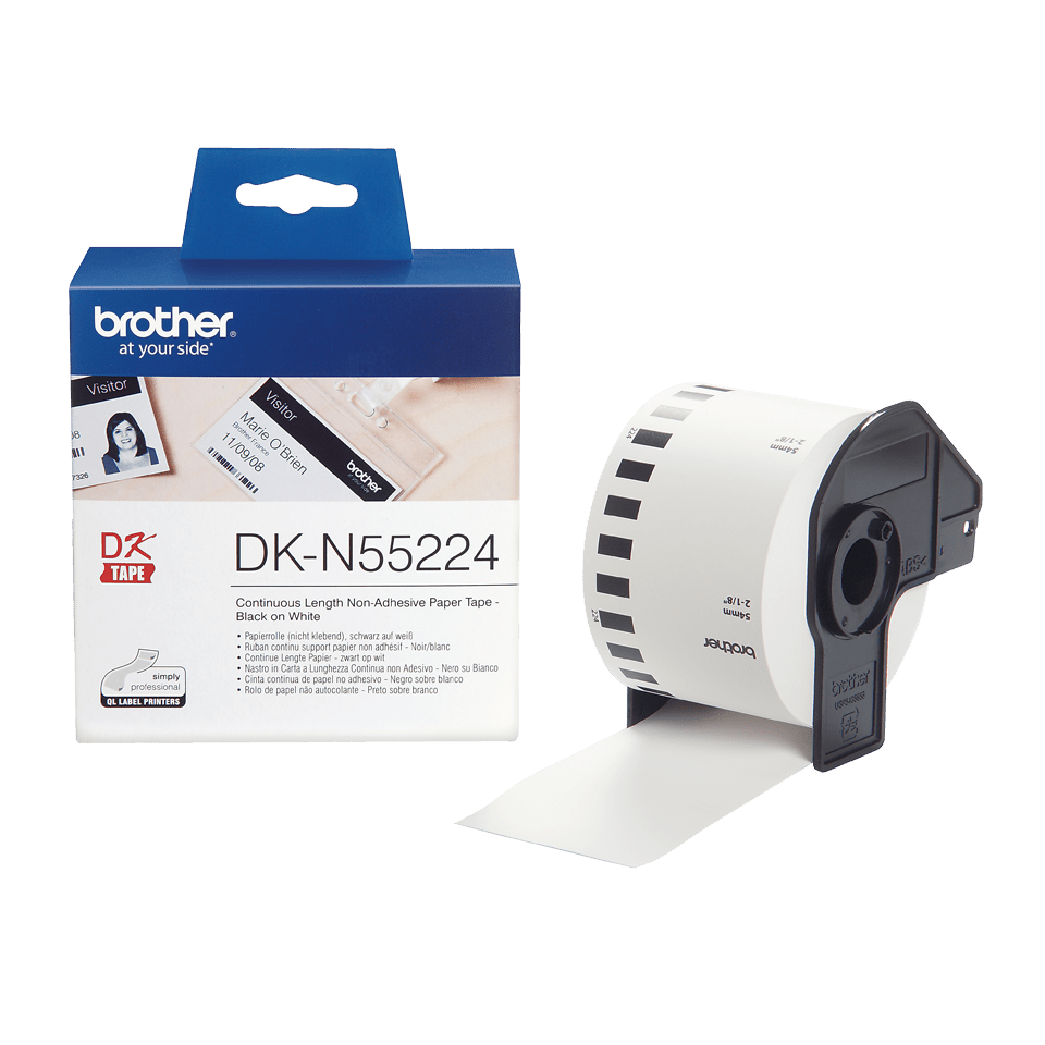 Brother DK-N55224 original papperstape icke vidhäftande – svart på vit, 54 mm  3
