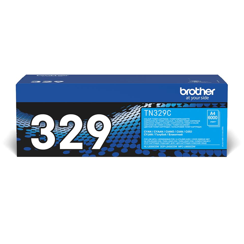 Brother original TN329C tonerkassett – cyan