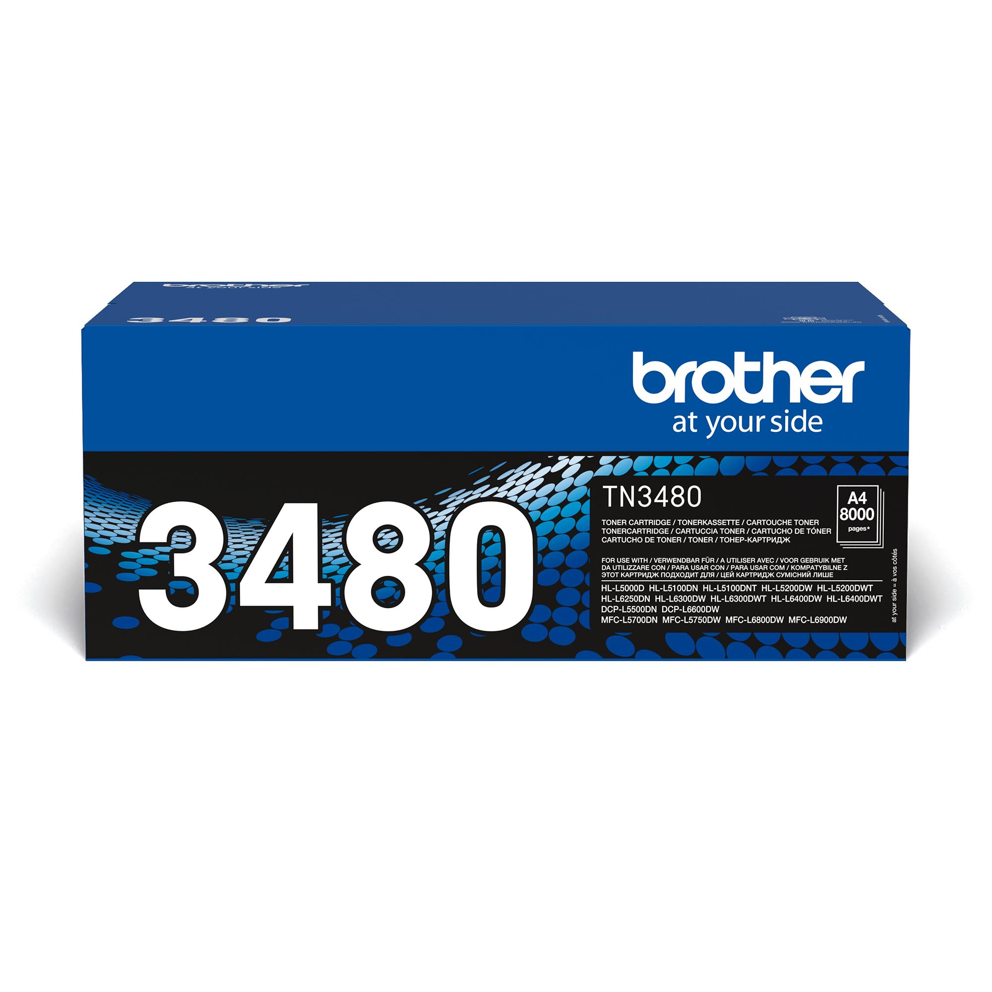 Brother original TN3480 tonerkassett – Svart