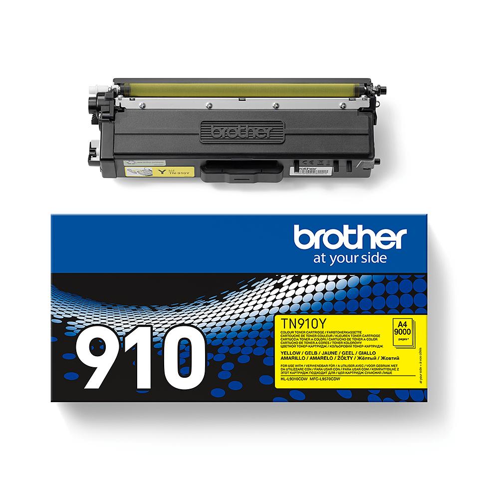 Brother original TN910Y tonerkassett – gul 2