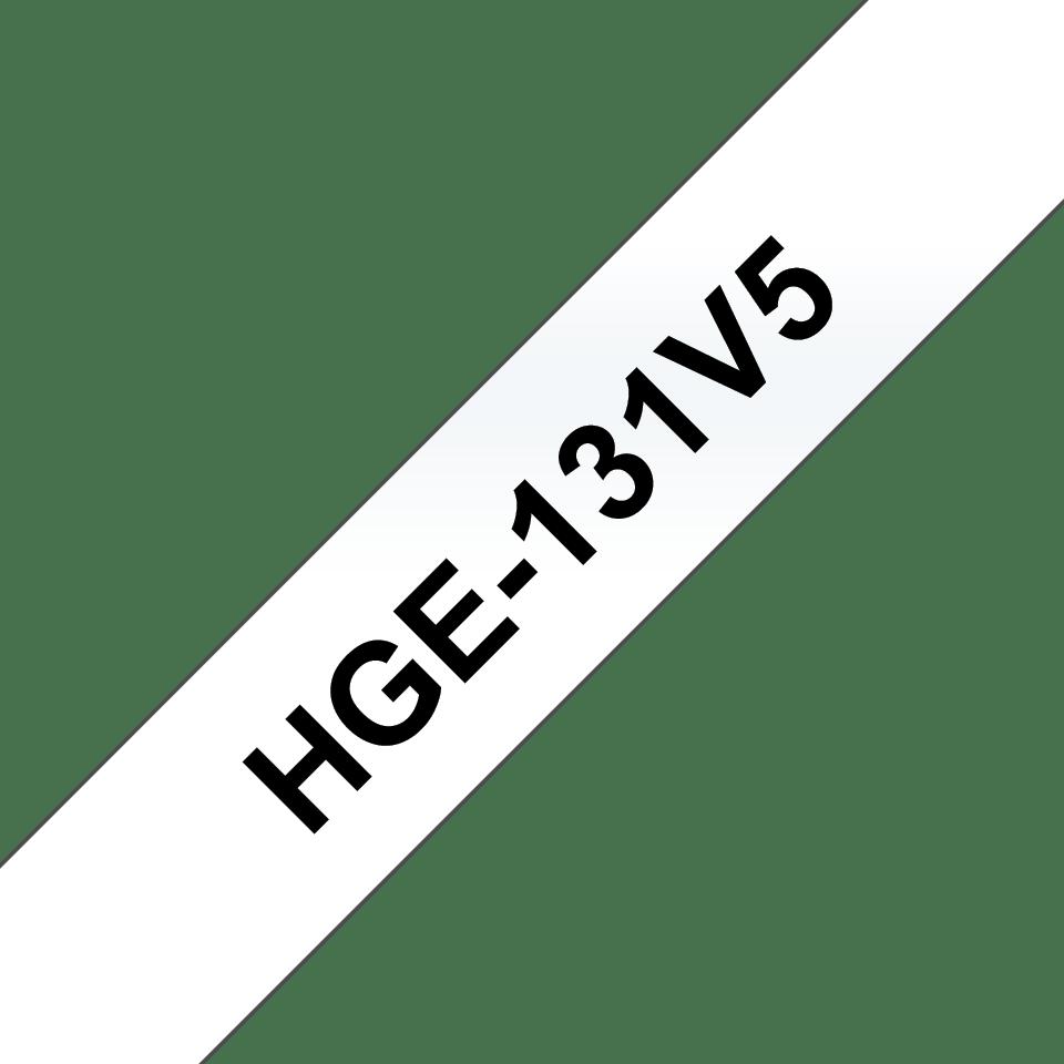 Brother HGe131V5 original laminerad High Grade tape, svart på genomskinlig, 12 mm