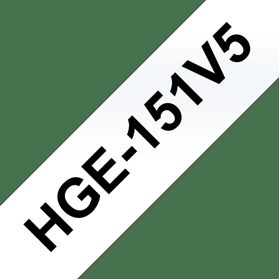 Brother HGe151V5 laminerad High Grade tape, svart på genomskinlig, 24 mm