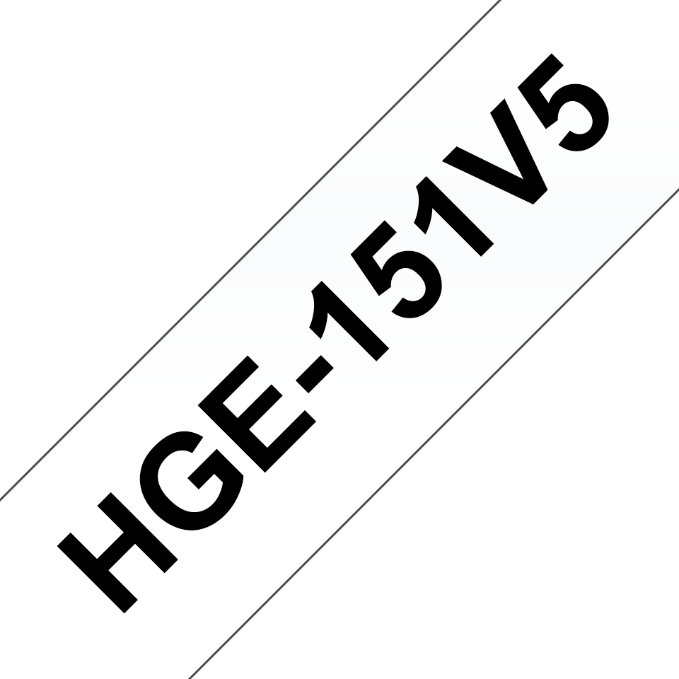 Brother HGe151V5 laminerad High Grade tape, svart på genomskinlig, 24 mm