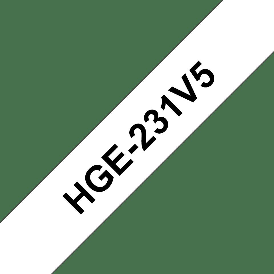 Brother HGe231V5 original  High Grade laminerad tape, svart på vit, 12 mm