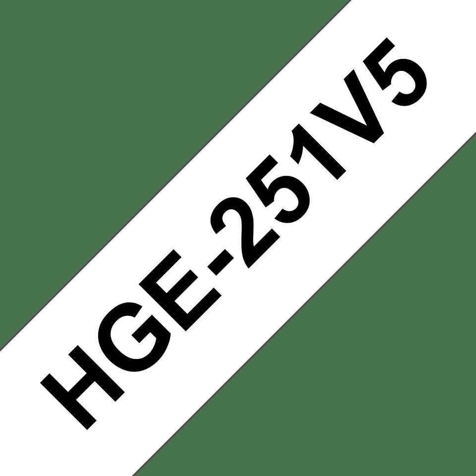 Brother HGe251V5 original High Grade laminerad tape, svart på vit, 24 mm
