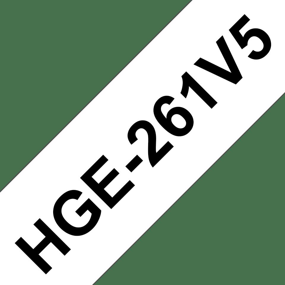 Brother HGe-261V5 original högkvalitativ laminerad tape – Svart på vit, 36 mm bred 0